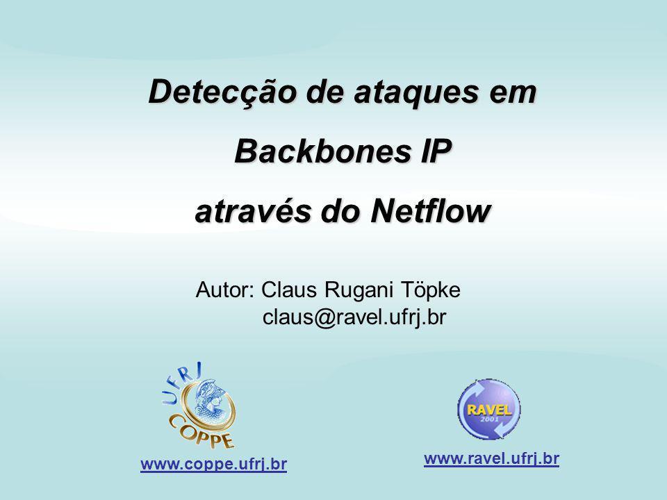 Detecção de ataques em Backbones IP através do Netflow - Claus Rugani Töpke - 23/09/2001 -2 Sumário 1 - Objetivo; 2 - Definições; 3 - Meios para a Detecção; 4 - O funcionamento do BPF; 5 - O funcionamento do Netflow; 6 - Implementação do detector; 7 - Conclusões.