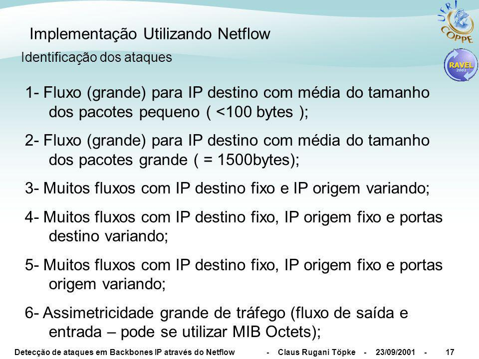 Detecção de ataques em Backbones IP através do Netflow - Claus Rugani Töpke - 23/09/2001 -18 Implementação Utilizando Netflow Identificação dos ataques 7- Assimetricidade dos fluxos ( fluxo de saída não corresponde a respostas do fluxo de entrada e vice-versa); 8- Tráfego maior que a capacidade do AL (necessário consulta a MIB do AR ou base de dados); 9- Tráfego ICMP ou SNMP excessivo (necessário avaliar histograma de protocolos); 10- Tráfego de uma porta UDP ou TCP (necessário avaliar histograma de portas); 11- TCP flags em estado anormal (SYN constante ou combinações estranhas)*; * - Discussão das TCP Flags no Capítulo 8 do www.ravel.ufrj.br/~claus/Msc/tese.ps.gz