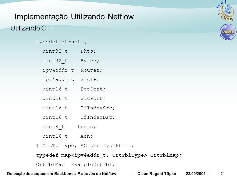 Detecção de ataques em Backbones IP através do Netflow - Claus Rugani Töpke - 23/09/2001 -22 Implementação Utilizando Netflow Tamanho do pacote para a rede destino (resposta 10minutos) Tráfego em bytes para a rede destino (resposta 1minutos) Fluxos por IP destino (resposta 1minutos) Tráfego em pacotes para a rede destino (resposta 1minutos) Problema => muitas vezes o fluxo tem que acabar para ser exportado...