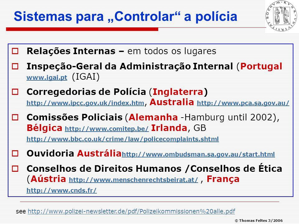 © Thomas Feltes 3/2006 Police Complaints Authority, GB Fonte: Relatório Annual e quantidade de queixas policiais 1 de abril de 2003 – 31 de Março de 2004 http://www.ipcc.gov.uk/pca_a_r03-04.pdf