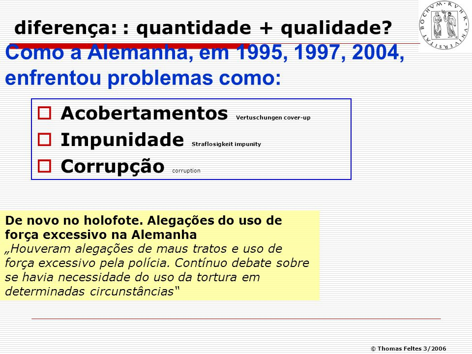 © Thomas Feltes 3/2006 Abuso Policial: Um problema mundial What constitutes effective accountability or proper integrity in relation to the police service.