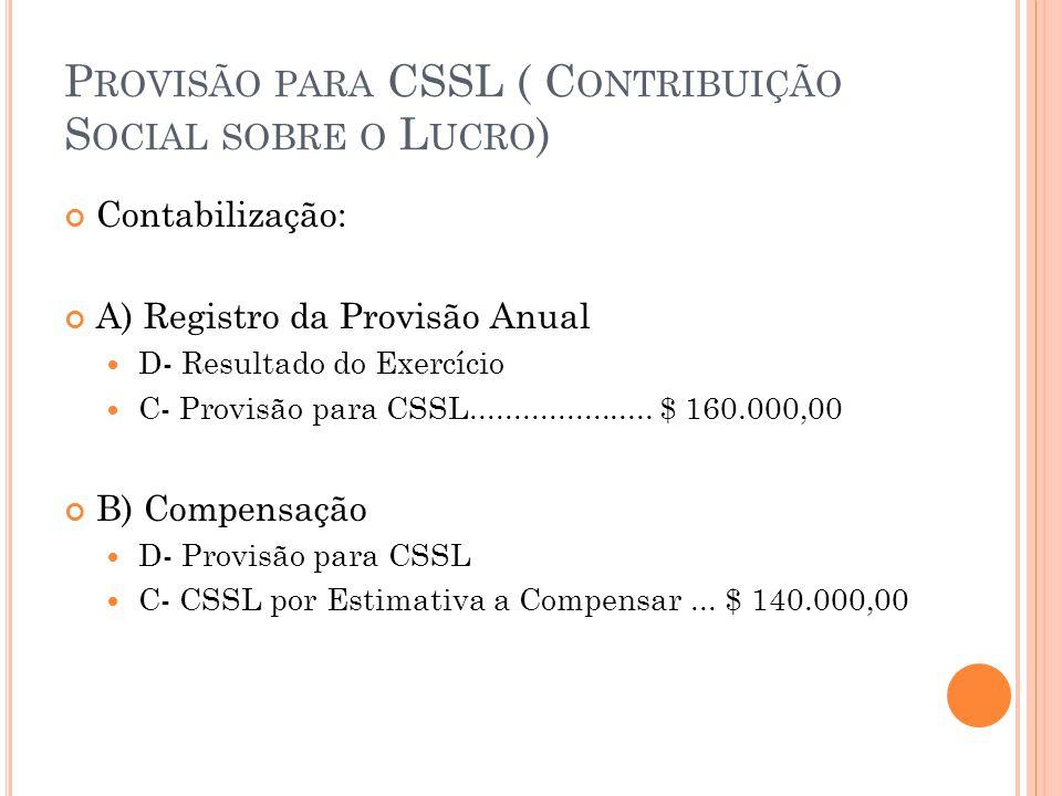 P ROVISÃO PARA CSSL ( C ONTRIBUIÇÃO S OCIAL SOBRE O L UCRO ) Exercício: Calcular a e contabilizar a provisão para CSSL devida pela empresa Irmãos Sol S/a, em 31/12/2013, considerando: A- Resultado do exercício antes das deduções $ 60.000,00; B- Entre outras receitas: Receita de participação societária decorrente da aplicação do MEP, no valor de $ 20.000,00 Dividendos creditados decorrentes de investimentos avaliados pelo Método de Custo de Aquisição, no valor de $ 5.000,00