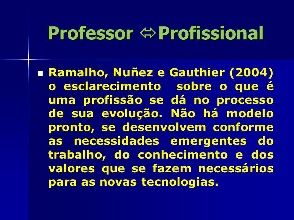 Professor  Profissional Reconhecem o caminho da docência igual as das demais profissões, um caminho que exige uma constante definição e construção de identidade.