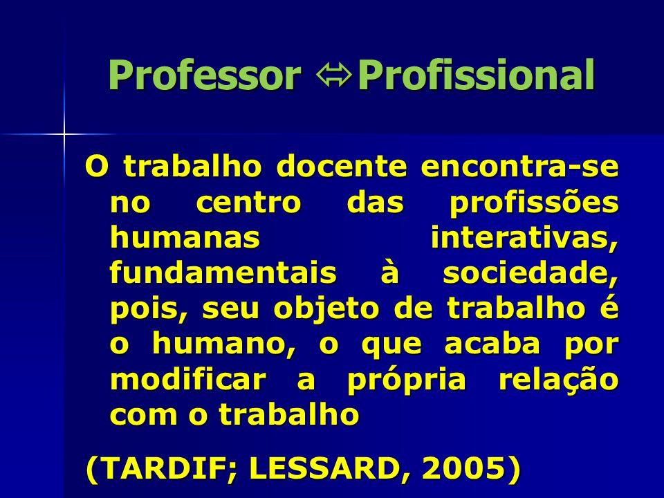 Professor  Profissional A profissionalização docente reúne em si todos os atos ou eventos correlacionados direta ou indiretamente a melhora do desempenho ao trabalho do profissional.