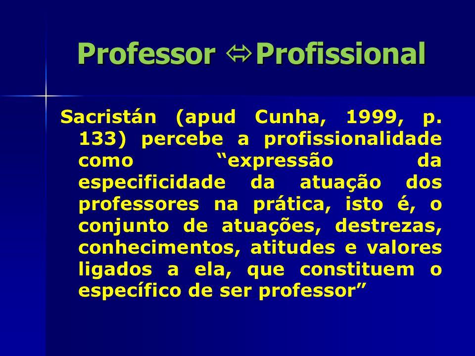 Professor  Profissional Segundo Cunha (1999) é o profissional que tem competência técnica, discernimento emocional, valores e princípios de responsabilidade e capacidade para resolver problemas no âmbito de sua profissão .