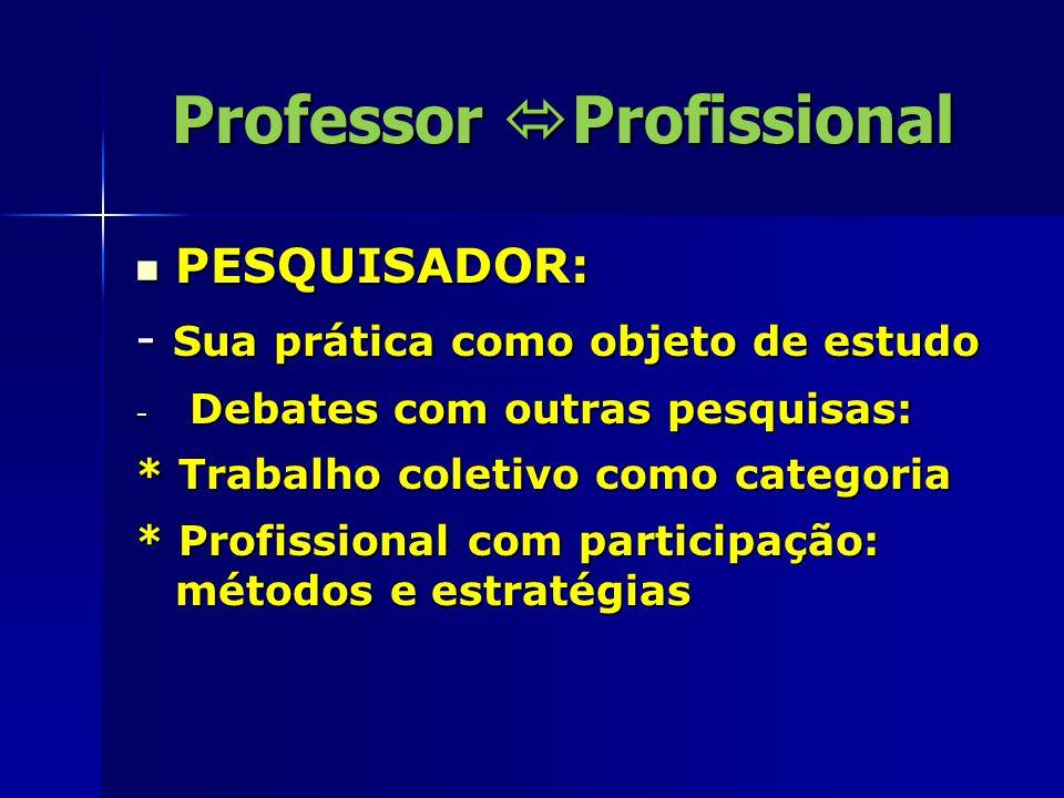 Professor  Profissional CRÍTICO: CRÍTICO: - Atitude aproximada da reformulação.