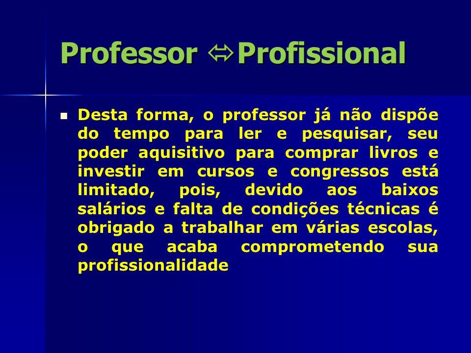 Professor  Profissional O DOCENTE PARA SER PROFISSIONAL Respostas que busca superar posturas de inércia Intelectual, social, política na atividade do professor.