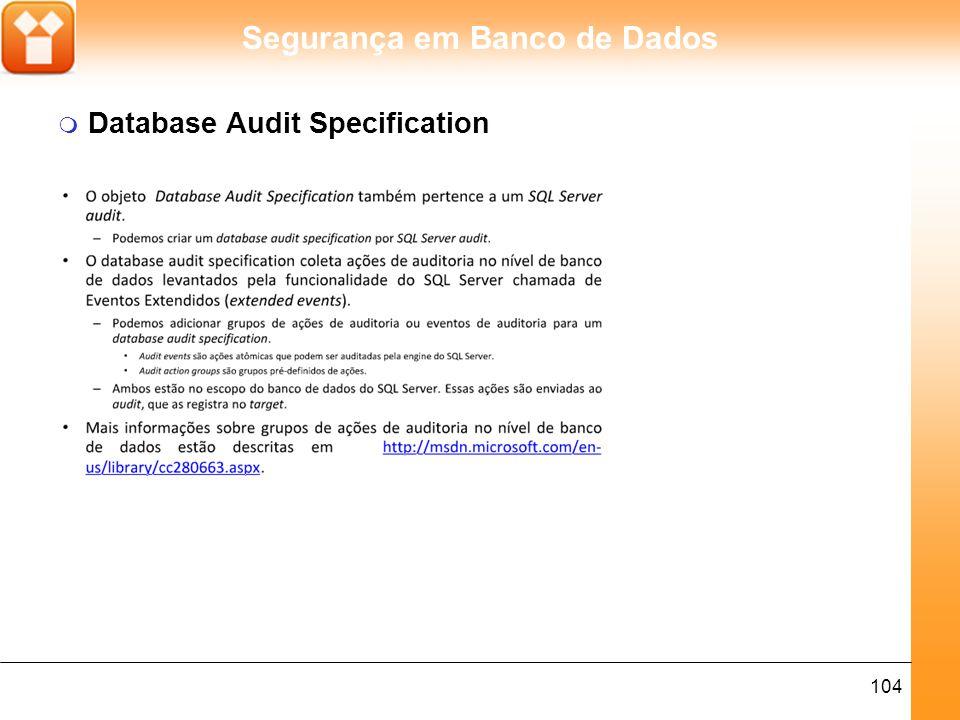 Segurança em Banco de Dados 105 m Target