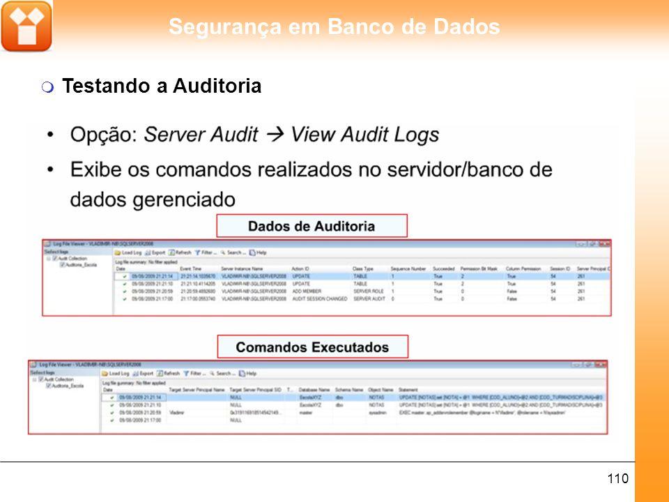Segurança em Banco de Dados 111 m Editando a Auditoria