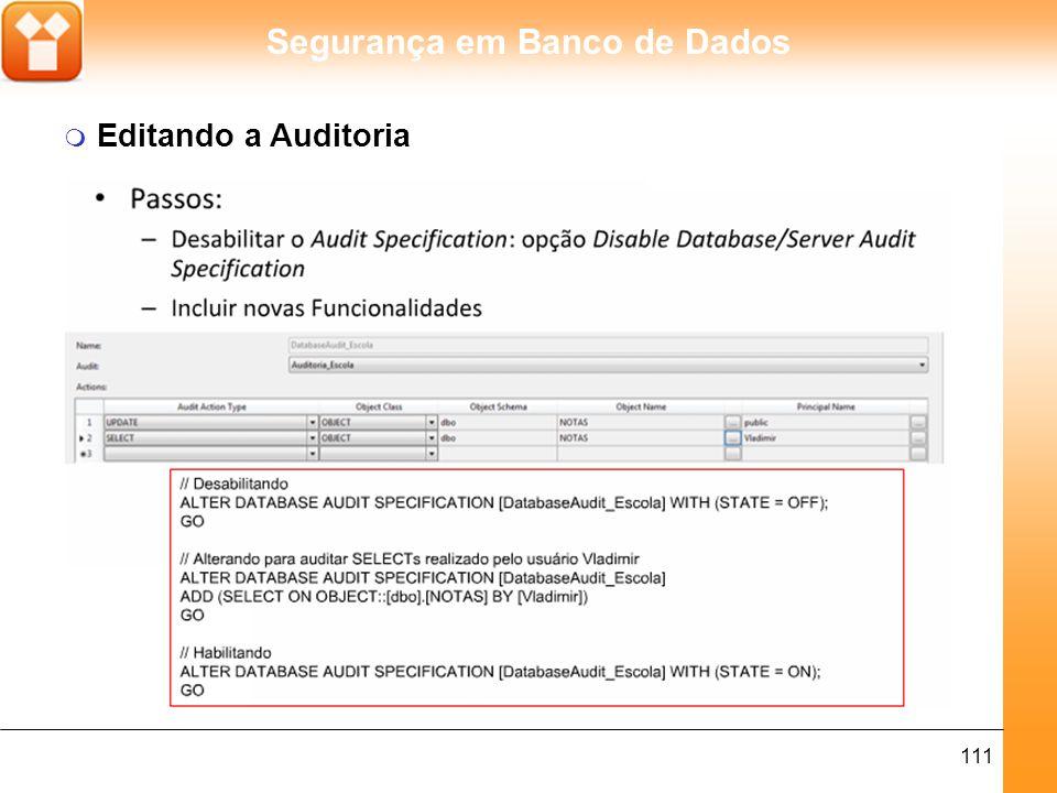 Segurança em Banco de Dados 112 m Auditoria aplicada a Rollback