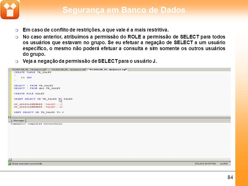 Segurança em Banco de Dados 85 m O usuário J (John) não consegue mais efetuar a consulta.