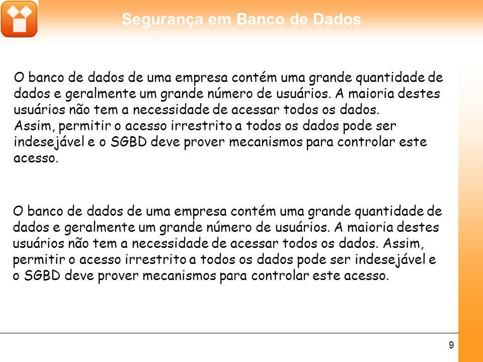 Segurança em Banco de Dados 10 Controle de acesso discricionário