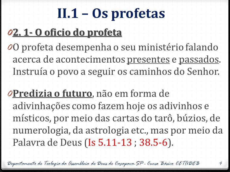 II.2 – Os profetas 0 2.2- Um porta- Voz de Deus 0 O profeta era uma pessoa escolhida por Deus para ser um porta-voz seu, recebendo e transmitindo mensagens divinas, na forma oral, visual ou escrita.