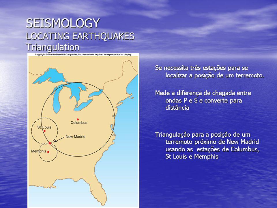 SEISMOLOGY MAGNITUDE Scale Escala Richer Baseada em escala logarítmica de um sismo ocorrido a 100 km de distância Para cada dez vezes a magnitude aumenta em um Porém a energia liberada é um fator muito maior