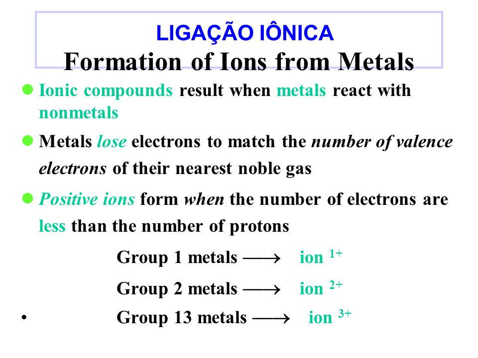 Formation of Ions from Metals Ionic compounds result when metals react with nonmetals Metals lose electrons to match the number of valence electrons of their nearest noble gas Positive ions form when the number of electrons are less than the number of protons Group 1 metals  ion 1+ Group 2 metals  ion 2+ Group 13 metals  ion 3+ LIGAÇÃO IÔNICA