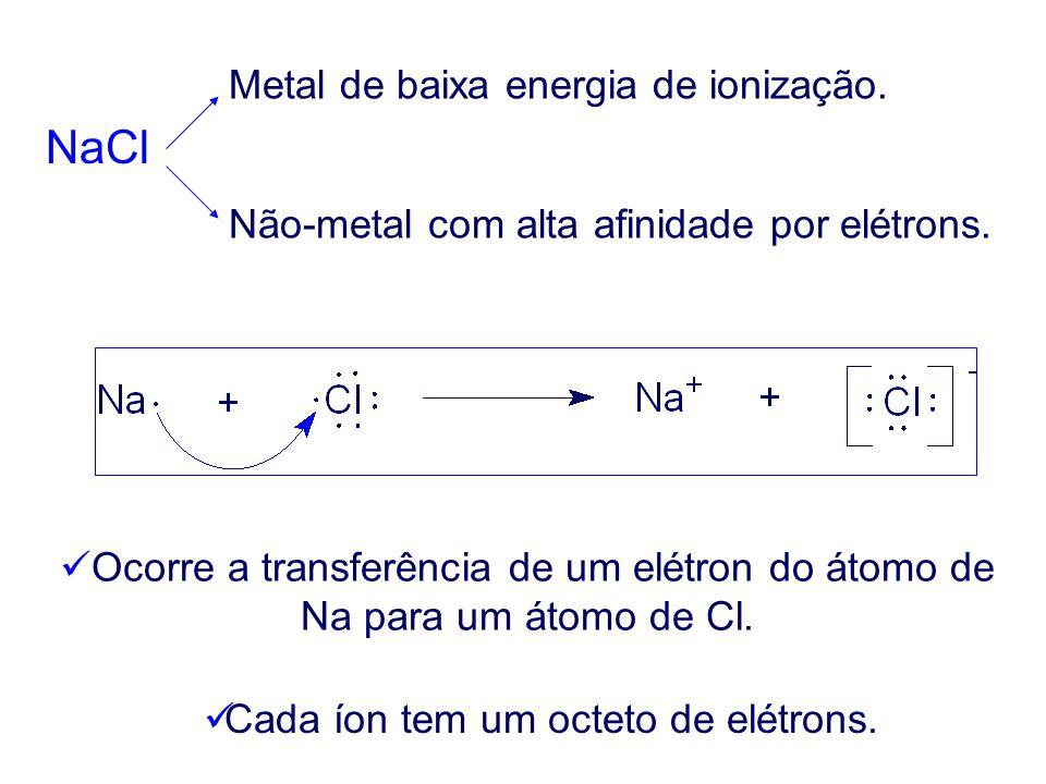 NaCl Metal de baixa energia de ionização.Não-metal com alta afinidade por elétrons.