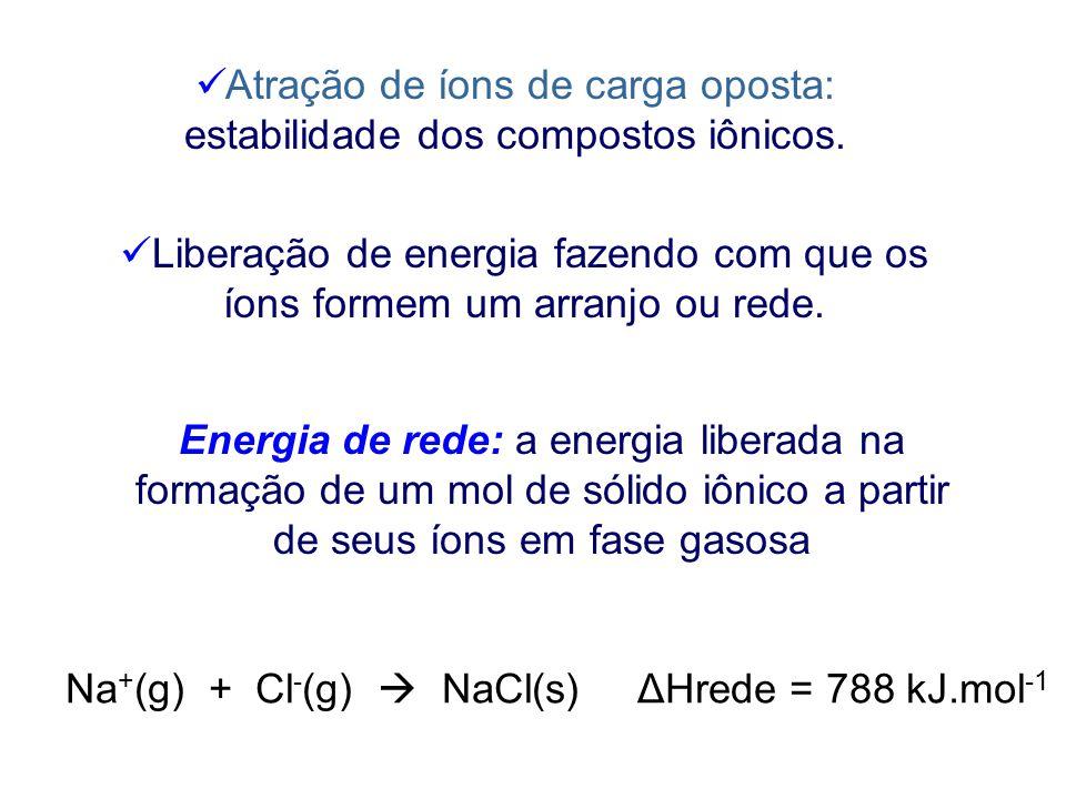 Atração de íons de carga oposta: estabilidade dos compostos iônicos.