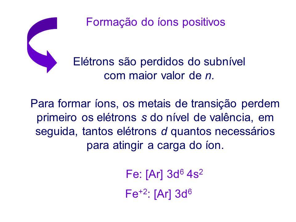 Formação do íons positivos Elétrons são perdidos do subnível com maior valor de n.