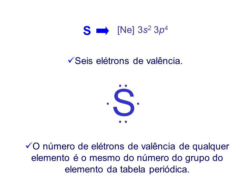 S [Ne] 3s 2 3p 4 Seis elétrons de valência.