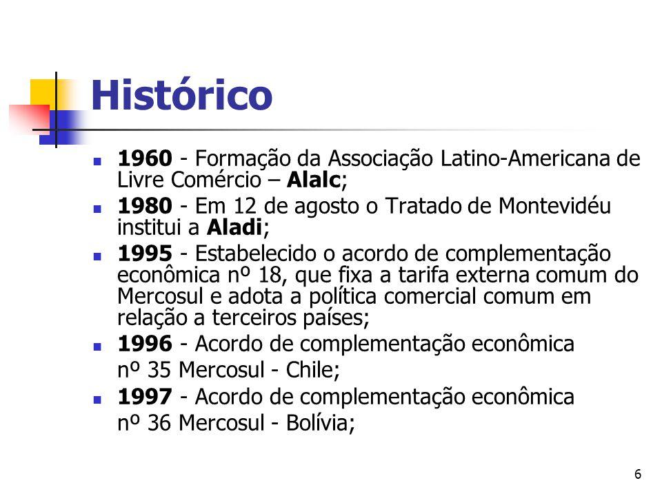 7 Histórico Agosto de 1999 - Acordo de Preferências Tarifárias Fixas entre Brasil e Comunidade Andina; Agosto de 1999 - Cuba é admitida como membro pleno da ALADI; Dezembro de 1999 - Acordo de Complementação Econômica nº 43, etapa preliminar de um possível acordo no formato 4+1 Mercosul-Cuba.