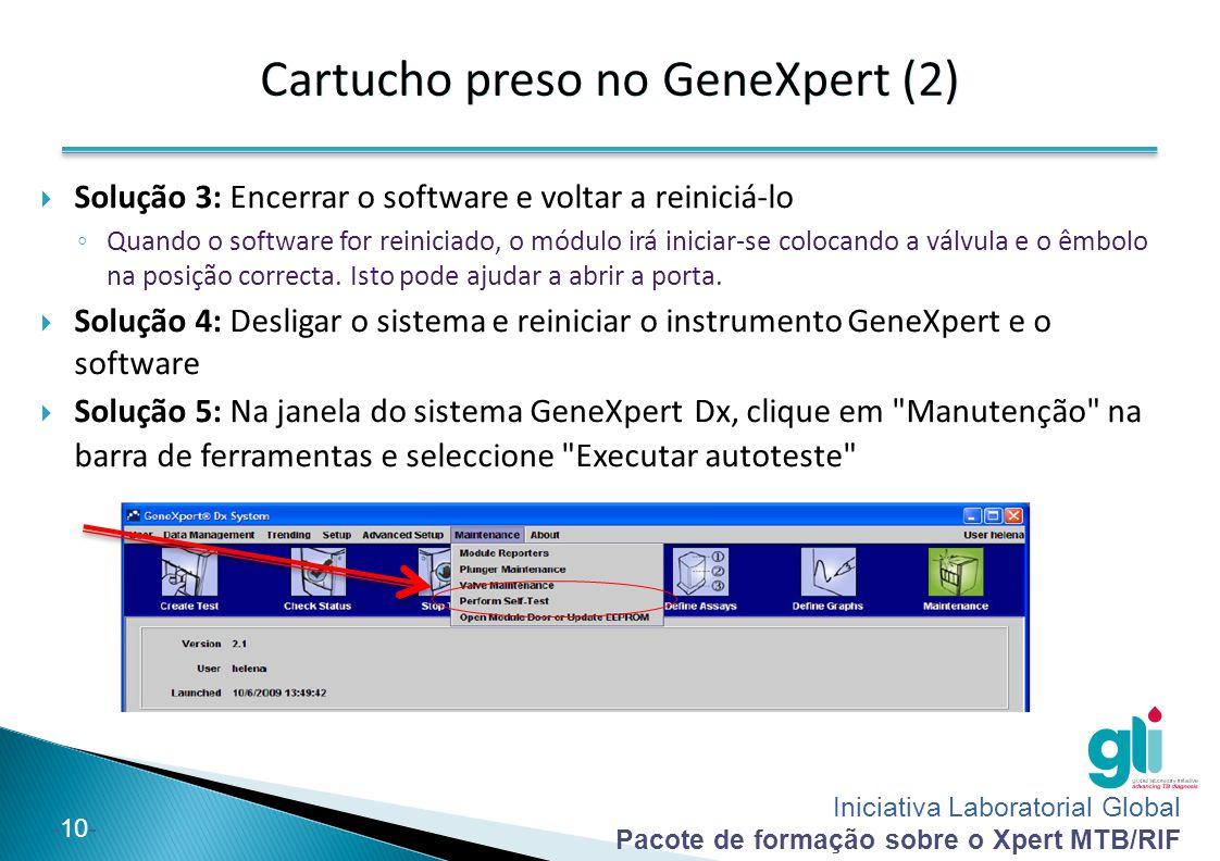 Iniciativa Laboratorial Global Pacote de formação sobre o Xpert MTB/RIF -11-  Solução 6: Se nenhuma das soluções anteriores funcionar, REMOVA MANUALMENTE o cartucho.