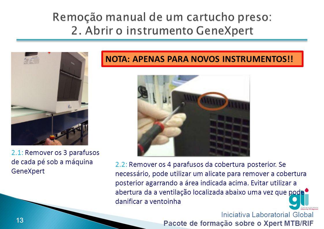 Iniciativa Laboratorial Global Pacote de formação sobre o Xpert MTB/RIF -14- 2.3: Puxe cuidadosamente o dispositivo para fora da carcaça externa enquanto empurre para dentro as portas do dispositivo CUIDADO: EXTREMIDADES AFIADAS.