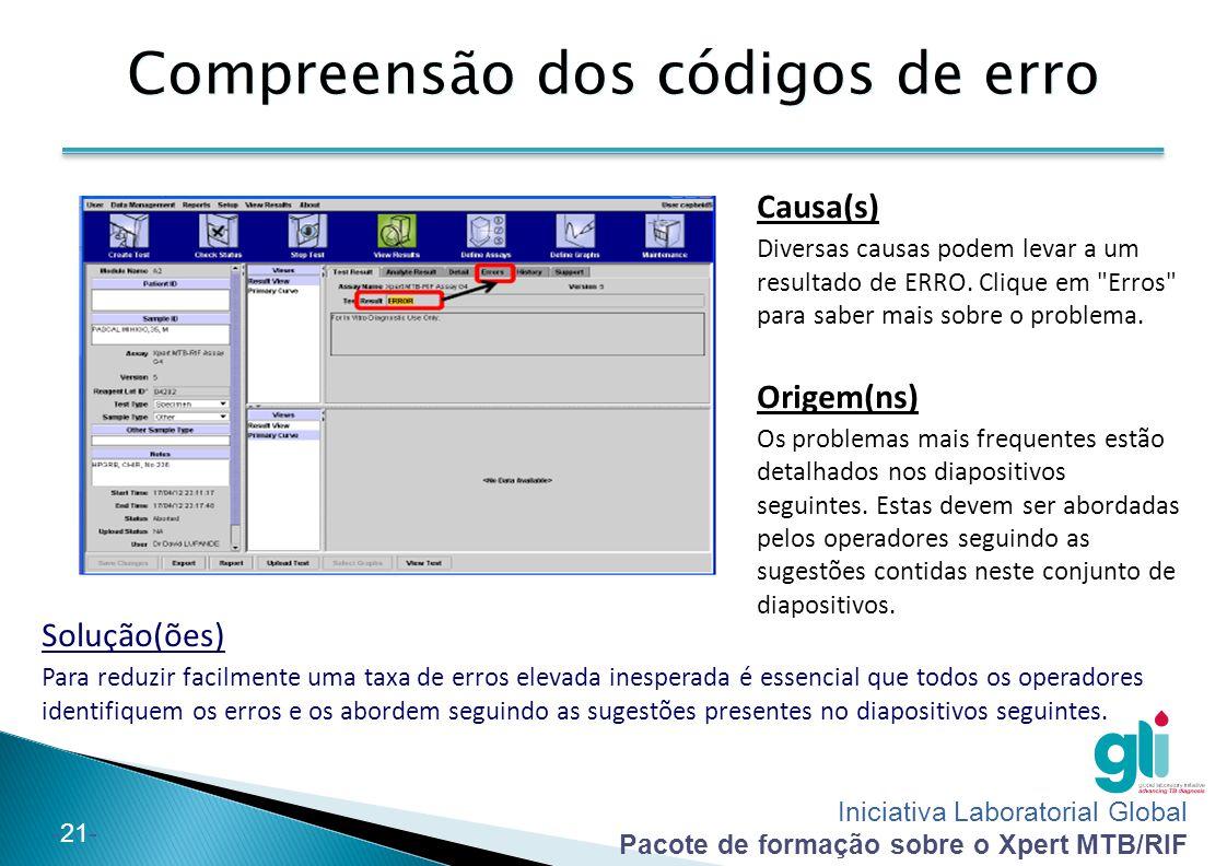 Iniciativa Laboratorial Global Pacote de formação sobre o Xpert MTB/RIF -22- Código de erro: 5006/5007/5008 Causa O controlo de verificação da sonda falhou e o teste foi interrompido antes da amplificação.