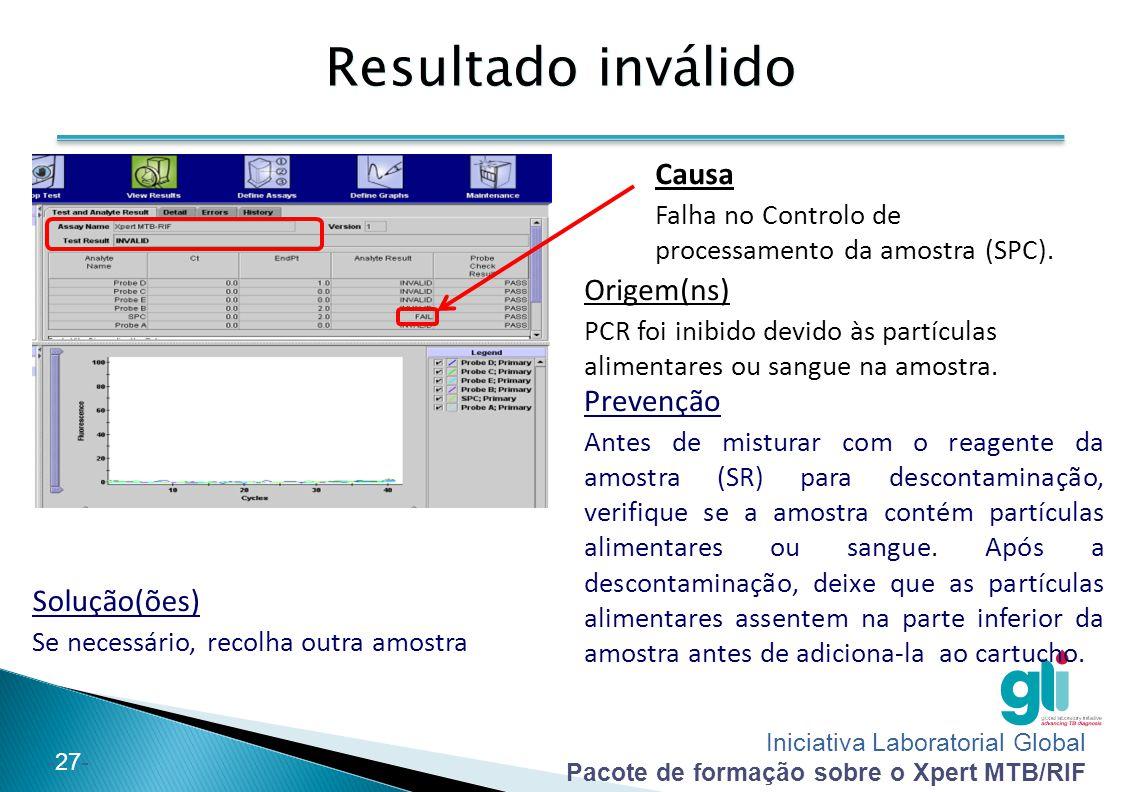 Iniciativa Laboratorial Global Pacote de formação sobre o Xpert MTB/RIF -28- Sem resultado Solução(ões) Ligue a fonte de alimentação, reinicie a máquina e repita o teste com um novo cartucho.