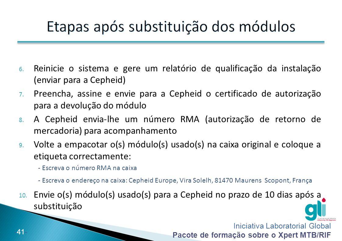 Iniciativa Laboratorial Global Pacote de formação sobre o Xpert MTB/RIF -42-  Formação e assistência da Cepheid HBDC Europe ◦ Telefone: +33.5.63.82.53.60 ◦ De Segunda-feira a Sexta-feira, das 8:00 às 18:00 GMT+1  Assistência técnica da Cepheid (problemas do instrumento e outros códigos de erro) ◦ Europa:  Telefone: +33.5.63.82.53.19  E-mail: support@cepheideurope.comsupport@cepheideurope.com  Segunda a Sexta-feira: 8:00 às 18:00 GMT+1 Antes de solicitar apoio, prepare os seguintes itens: ◦ Número de série do GeneXpert, código(s) de erro, descrição do incidente, (se possível) ficheiro GXX arquivado durante o últimos 3 meses e ficheiros de registo do sistema