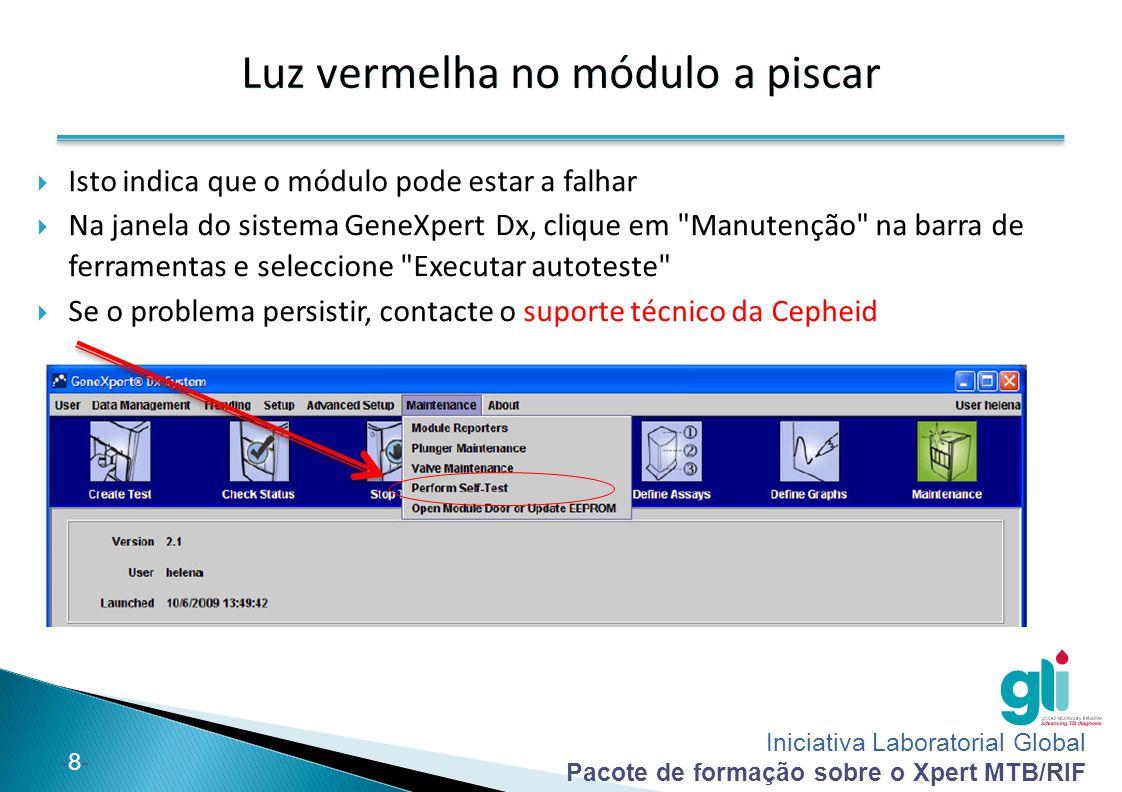 Iniciativa Laboratorial Global Pacote de formação sobre o Xpert MTB/RIF -9--9- Cartucho preso no GeneXpert (1)  Solução 1: Verificar se a porta do módulo está fechada ◦ Tente abrir lentamente a porta do módulo.