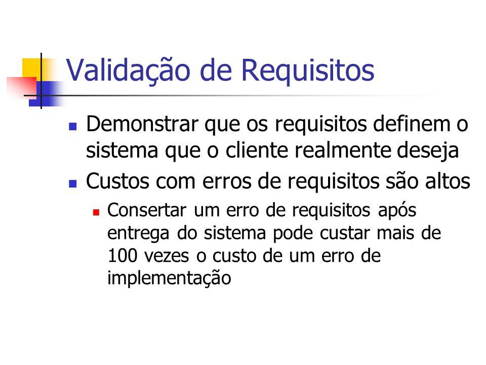 Técnicas de Validação de Requisitos Revisões de Requisitos Análise manual sistemática dos requisitos Prototipação Uso de modelo executável do sistema para avaliar requisitos Geração de Casos de Teste Desenvolver testes específicos para os requisitos para avaliá-los