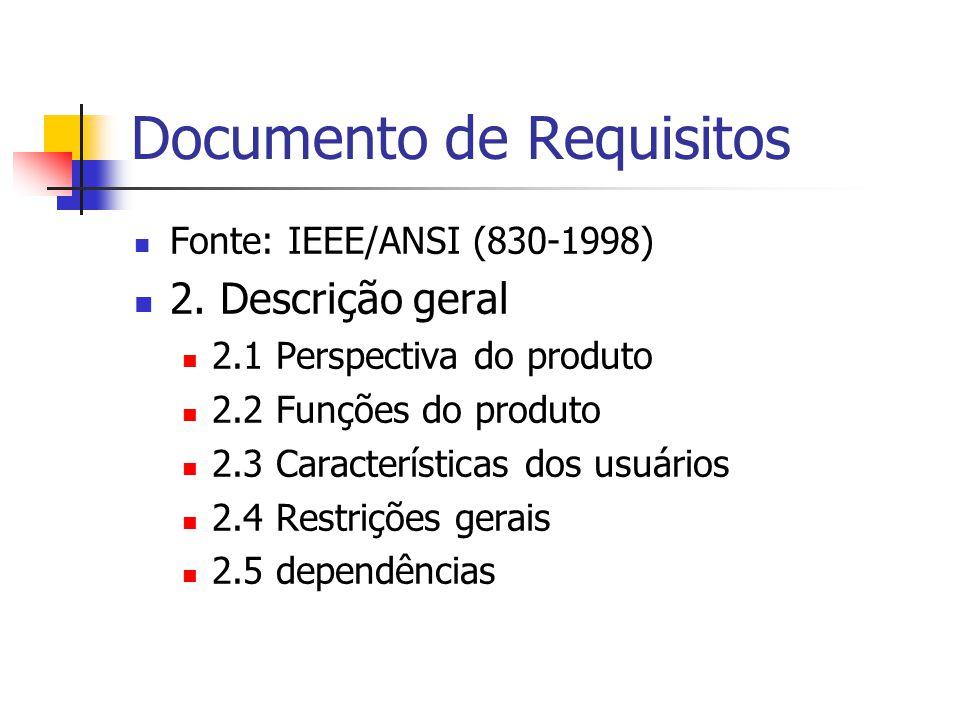 Documento de Requisitos Fonte: IEEE/ANSI (830-1998) 3.