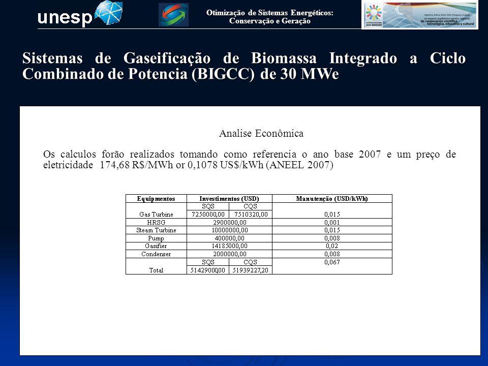 Otimização de Sistemas Energéticos: Conservação e Geração Sistemas de Gaseificação de Biomassa Integrado a Ciclo Combinado de Potencia (BIGCC) de 30 MWe Analise Econômica Equações utilizadas para o calculo dos parametros economicos, de acordo com (Silveira, J.L., 1990)