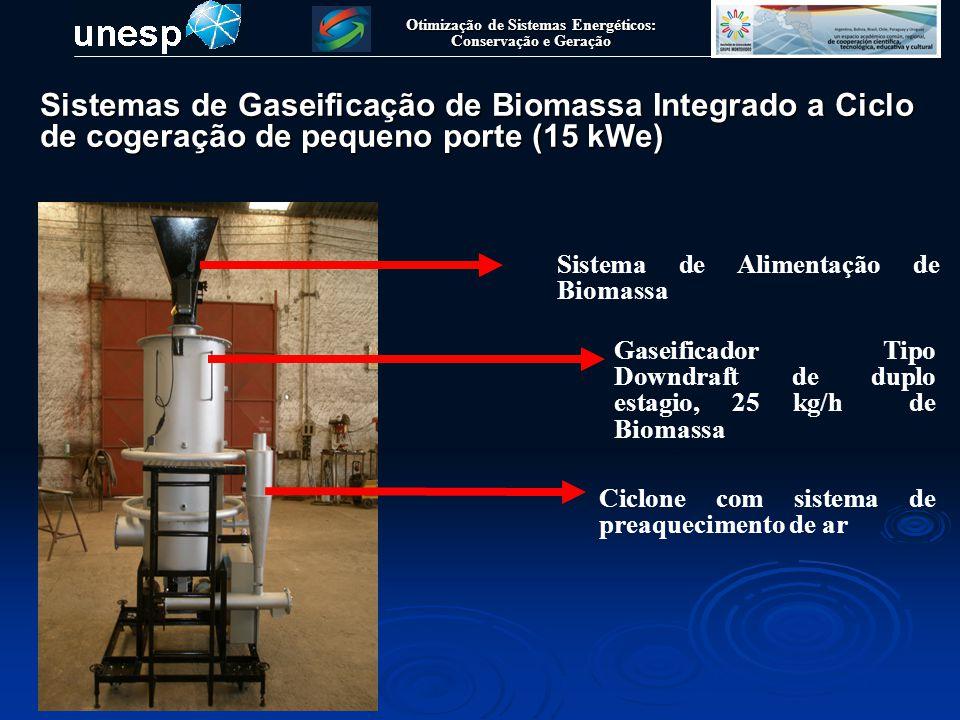 Otimização de Sistemas Energéticos: Conservação e Geração ParametroValorParametroValor Fluxo de Biomassa25 kg/hTempo de Operação 5 000 h – 7000 h Ar nas condições ISO P=101325 Pa, T=25 °C Investimento do Trocador700 US$ Temperatura de Agua Quente 40 °C, 45 °C, 50 °C, 55 °C, 60 °C Investimento do Sistema de Gaseificação 20.000,00 US$ Temperatura de Gaseificação * 800 °C Custo de manutenção do Cogerador 0.08 US$/kWh Conteudo de Umidade * 20% Custo de manuntenção do Trocador 0.003 US$/kWh Efficiencia do Trocador do Calor70% Custo de manuntenção do gaseificador 0.015 US$/kWh Calor especifico da Agua4,19 kJ/kgK Relação ar/biomassa* 0,20 Entalpia do Syngas * -2470,25 kJ/kg Fluxo de cinzas** 0,25 kg/h Investimento do Cogerador1437,02 US$Juros12% Dados do sistema de cogeração a ser estudado Sistemas de Gaseificação de Biomassa Integrado a Ciclo de cogeração de pequeno porte (15 kWe)