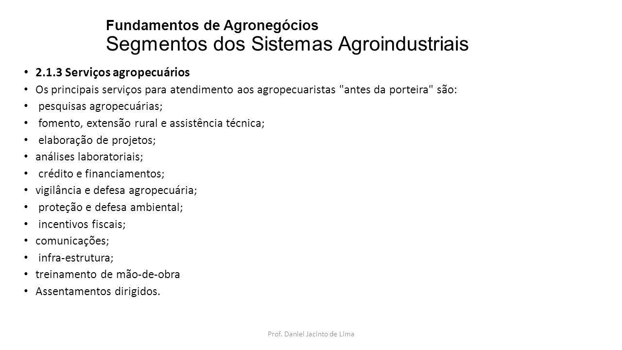 Fundamentos de Agronegócios Segmentos dos Sistemas Agroindustriais A.