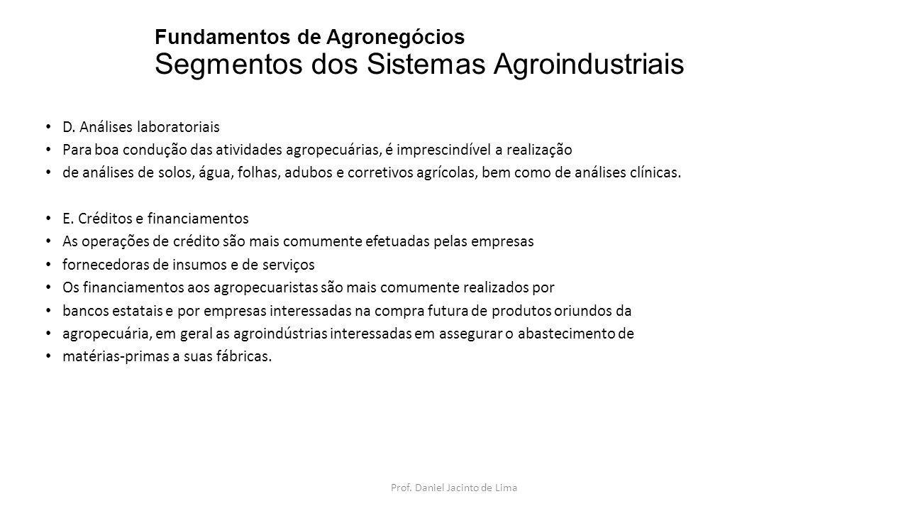 Fundamentos de Agronegócios Segmentos dos Sistemas Agroindustriais F.
