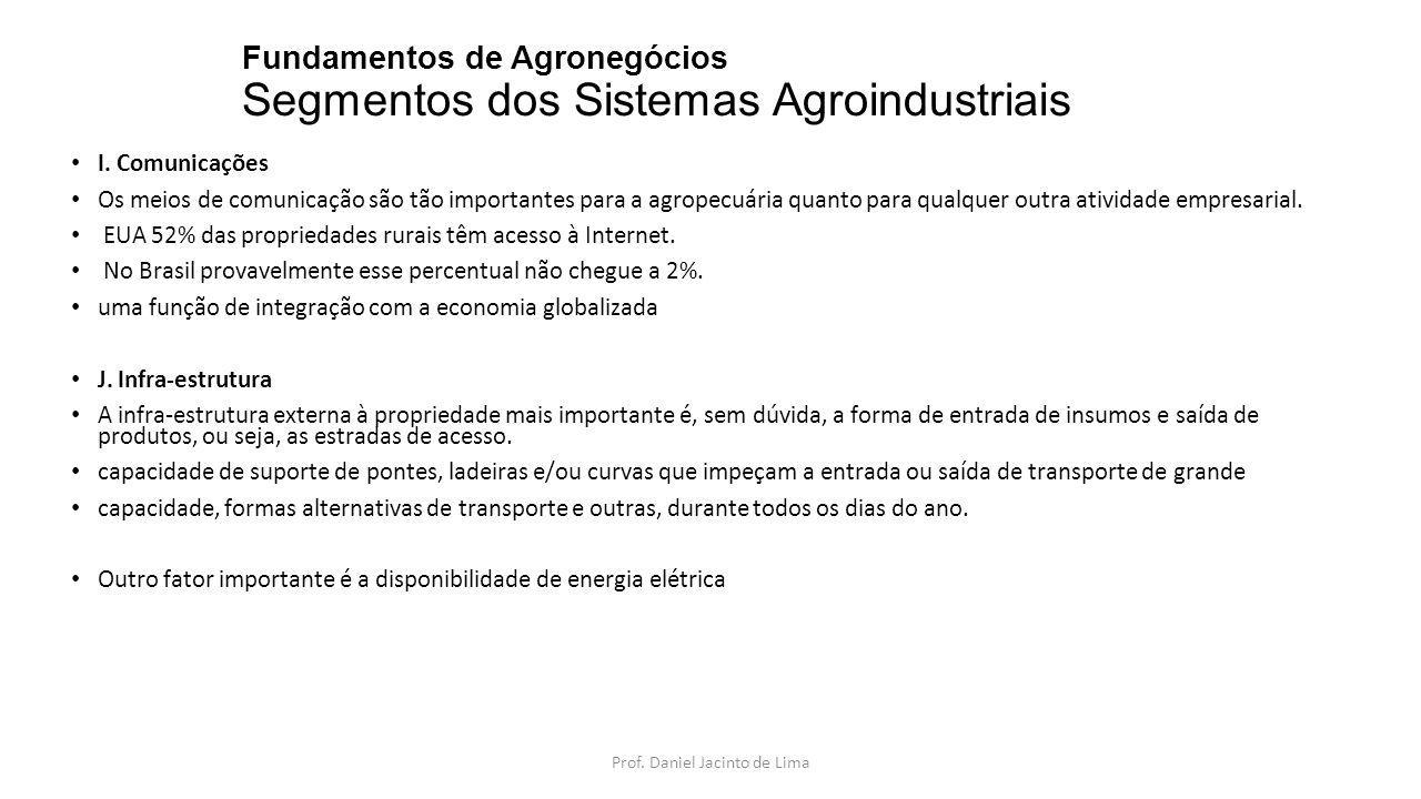 Fundamentos de Agronegócios Segmentos dos Sistemas Agroindustriais L.