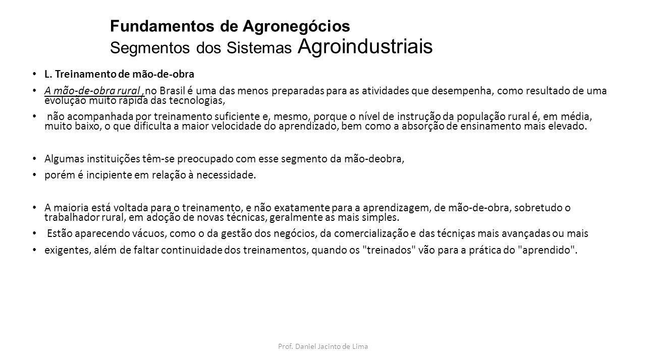 Fundamentos de Agronegócios Segmentos dos Sistemas Agroindustriais M.