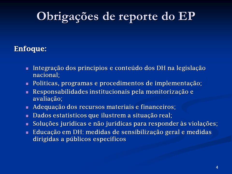 4 Obrigações de reporte do EP Enfoque: Integração dos princípios e conteúdo dos DH na legislação nacional; Integração dos princípios e conteúdo dos DH na legislação nacional; Políticas, programas e procedimentos de implementação; Políticas, programas e procedimentos de implementação; Responsabilidades institucionais pela monitorização e avaliação; Responsabilidades institucionais pela monitorização e avaliação; Adequação dos recursos materiais e financeiros; Adequação dos recursos materiais e financeiros; Dados estatísticos que ilustrem a situação real; Dados estatísticos que ilustrem a situação real; Soluções jurídicas e não jurídicas para responder às violações; Soluções jurídicas e não jurídicas para responder às violações; Educação em DH: medidas de sensibilização geral e medidas dirigidas a públicos específicos Educação em DH: medidas de sensibilização geral e medidas dirigidas a públicos específicos