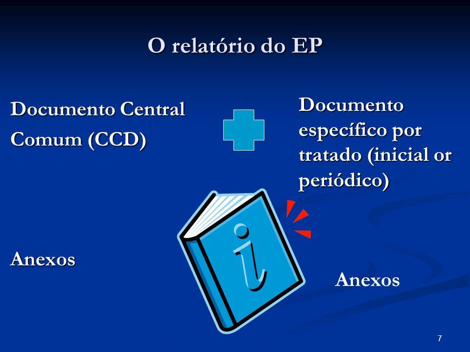 7 O relatório do EP Documento Central Documento Central Comum (CCD) Comum (CCD) Anexos Anexos Documento específico por tratado (inicial or periódico) Anexos