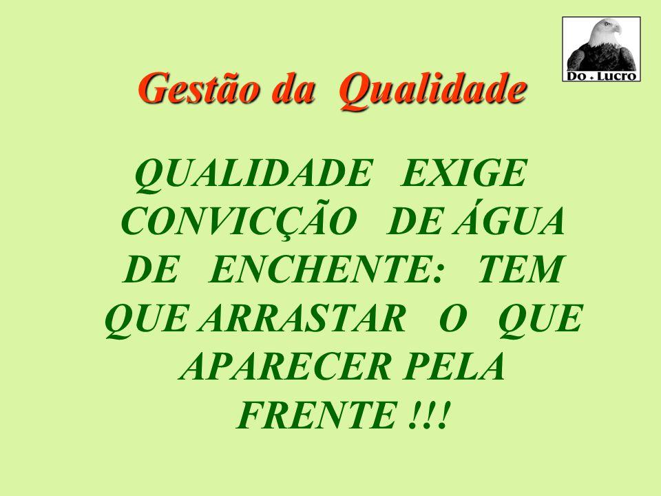 Gestão da Qualidade QUALIDADE EXIGE CONVICÇÃO DE ÁGUA DE ENCHENTE: TEM QUE ARRASTAR O QUE APARECER PELA FRENTE !!!