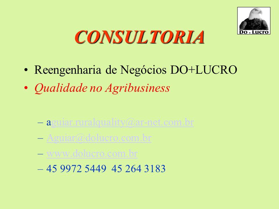 CONSULTORIA Reengenharia de Negócios DO+LUCRO Qualidade no Agribusiness –aguiar.ruralquality@ar-net.com.brguiar.ruralquality@ar-net.com.br –Aguiar@dolucro.com.brAguiar@dolucro.com.br –www.dolucro.com.brwww.dolucro.com.br –45 9972 5449 45 264 3183