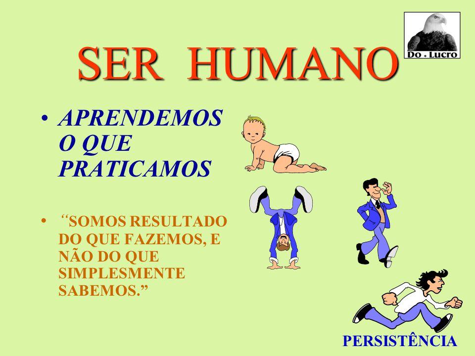 SER HUMANO APRENDEMOS O QUE PRATICAMOS SOMOS RESULTADO DO QUE FAZEMOS, E NÃO DO QUE SIMPLESMENTE SABEMOS. PERSISTÊNCIA