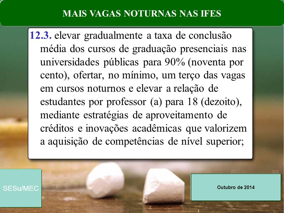 Outubro de 2014 SESu/MEC Comentários: 1.30,19% das matrículas nas IFES já estão hoje em cursos noturnos.