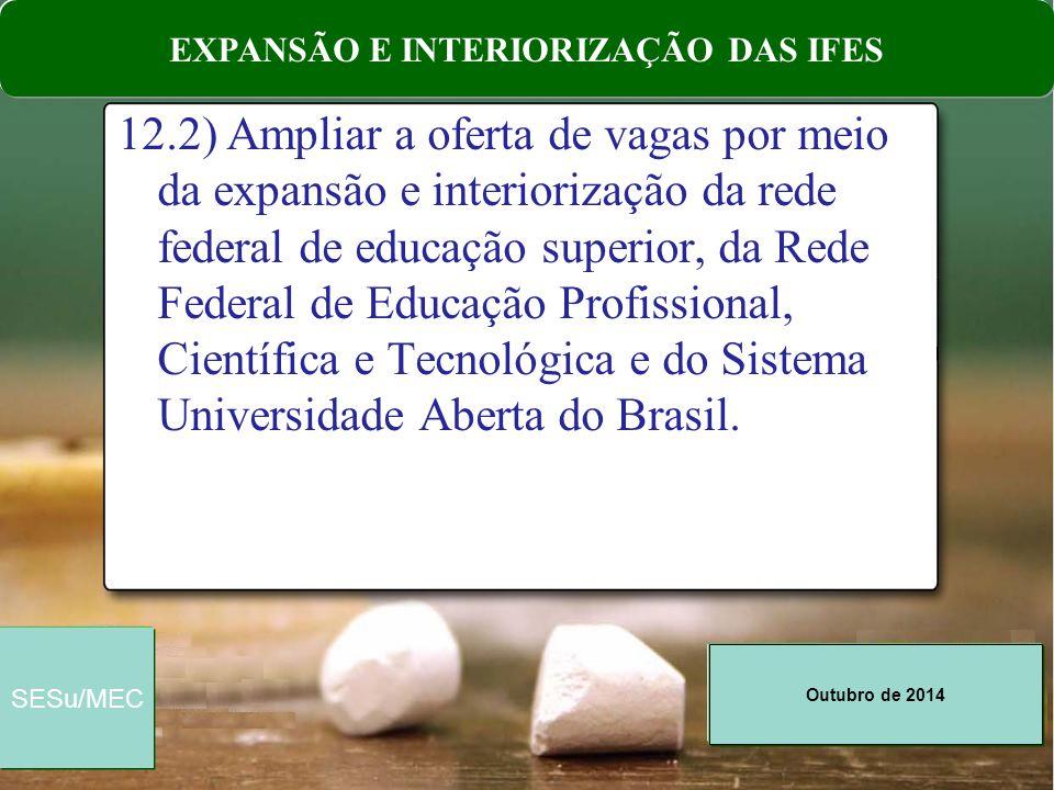 Outubro de 2014 SESu/MEC 12.5) Ampliar as taxas de acesso à educação superior de estudantes egressos da escola pública, apoiando seu sucesso acadêmico.