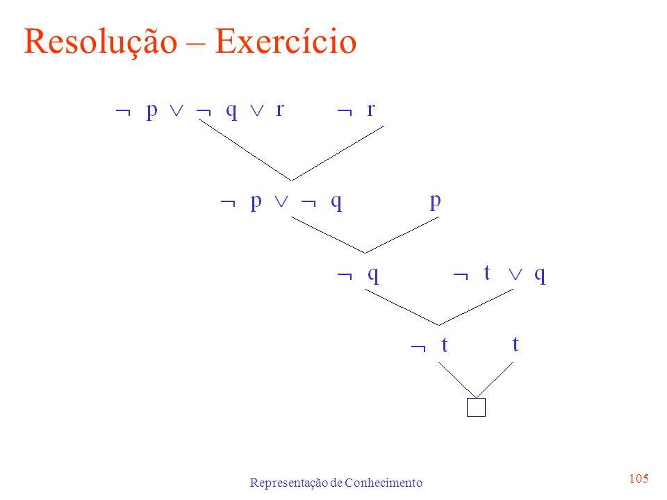 Representação de Conhecimento 106 Unificação Na Lógica Proposicional é simples verificar se dois literais não podem ser verdadeiros simultaneamente, pois L e L são contraditórios Na Lógica de Predicados este processo de matching dos axiomas é mais complicado uma vez que podem conter variáveis.
