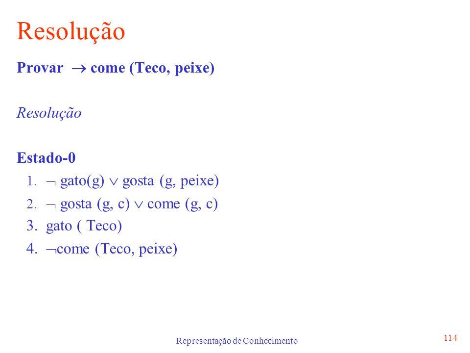 Representação de Conhecimento 115 Resolução Provar come (Teco, peixe) Resolução come (Teco, peixe) gosta (g, c) come (g, c) gosta (Teco, peixe) gato(g) gosta (g, peixe) gato ( Teco) gato (Teco)