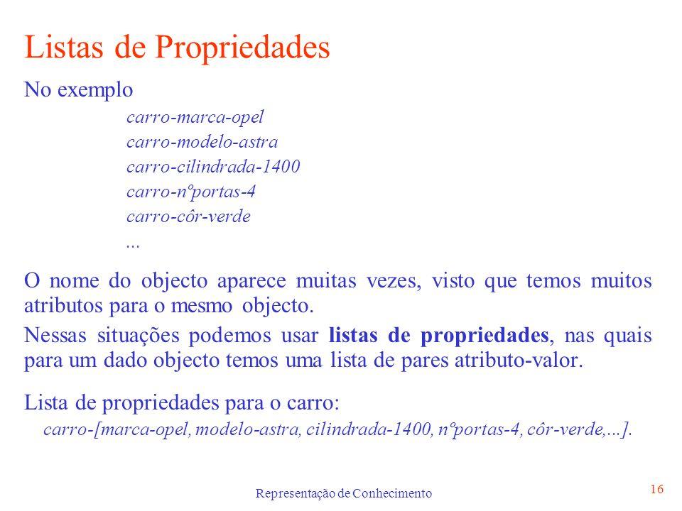 Representação de Conhecimento 17 Limitações Os tripletos e as listas de propriedades têm limitações quando se pretende representar conhecimento declarativo sobre atributos de objectos que estejam em modificação.