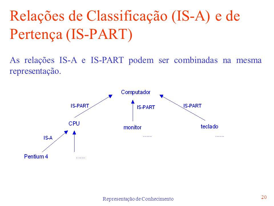 Representação de Conhecimento 21 Redes Semânticas São um método de representação do conhecimento através de um grafo directo composto por nós e arcos Os nós representam objectos (físicos ou abstractos), as suas propriedades e valores Os arcos representam relações entre os nós As relações IS-A e IS-PART são vulgarmente usadas como etiquetas dos arcos, podem ser usadas outras etiquetas à nossa escolha (tem, desloca-se, respira, etc) que capturam conhecimento