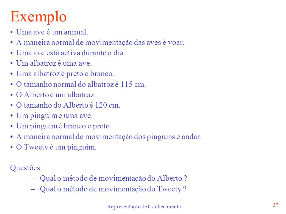 Representação de Conhecimento 28 Exemplo